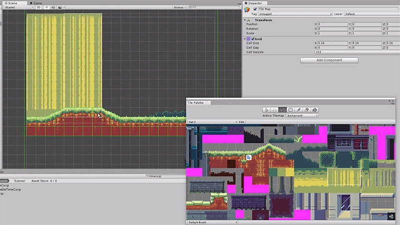The Unity 2D games Tilemap tool