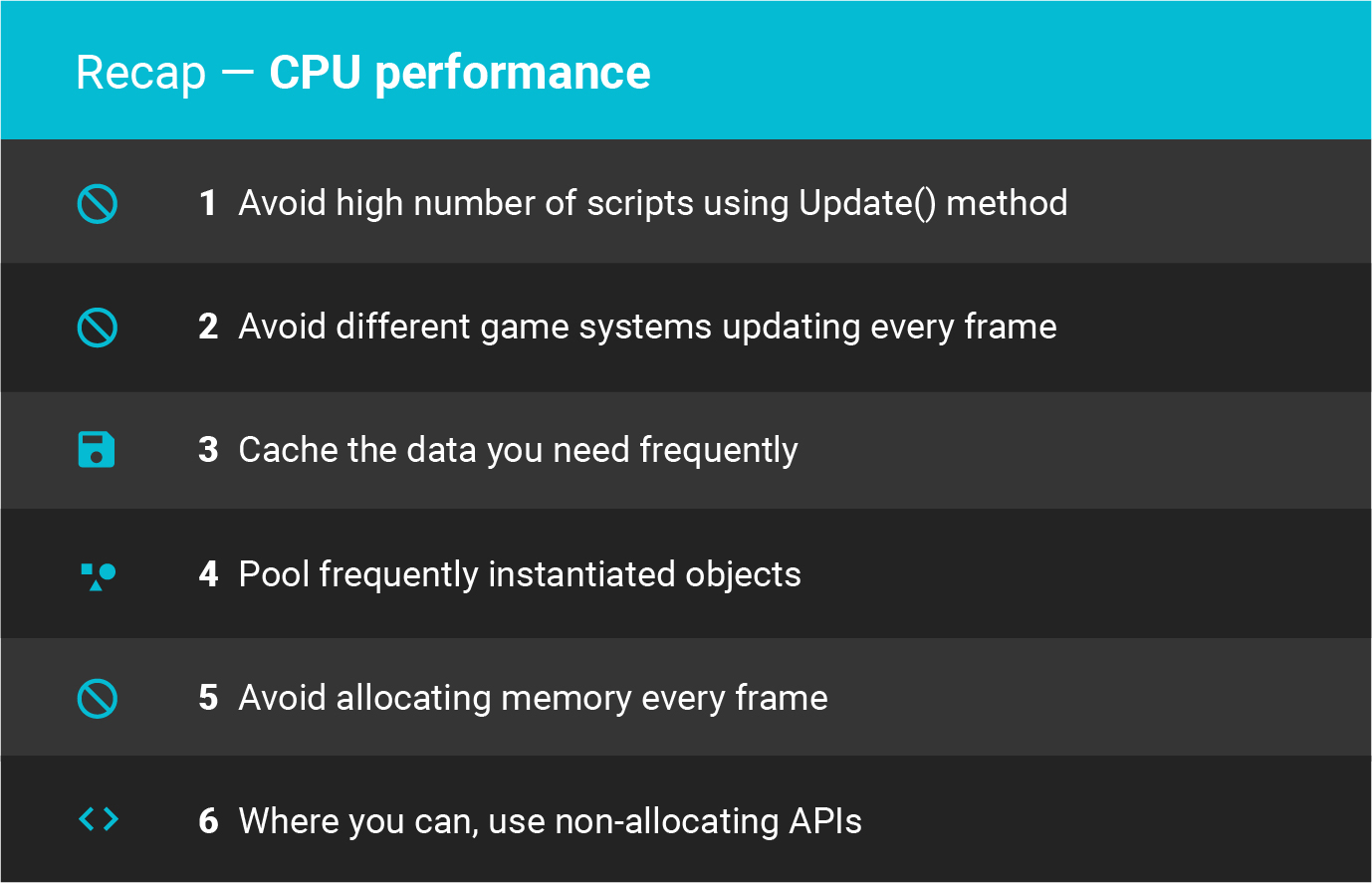 Unity best practices CPU performance