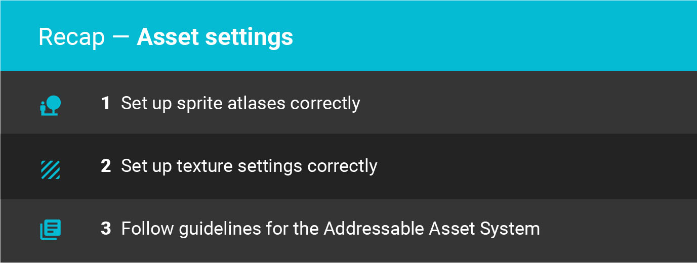 Unity best practices asset settings