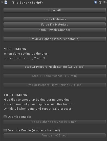 Unity light baked prefabs for mobile custom inspector MetalPopGames