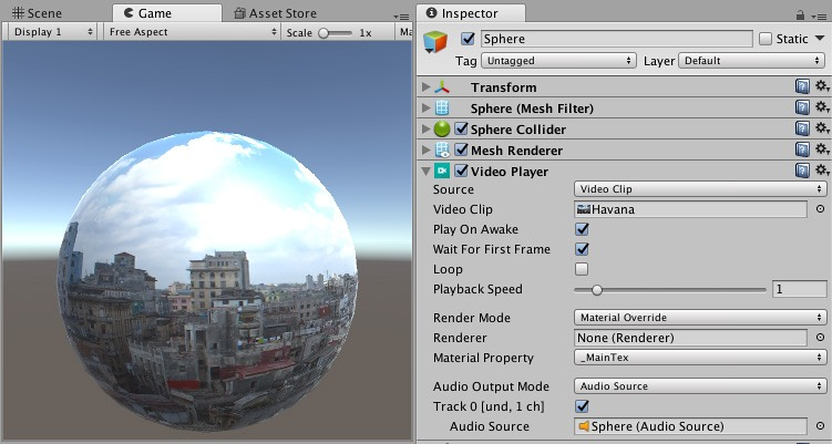 Unity native video player component