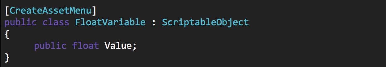 Unity scriptable object float variable