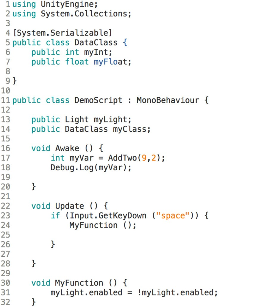 classes in unity example